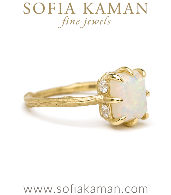 Boho Opal Twig Engagement Ring