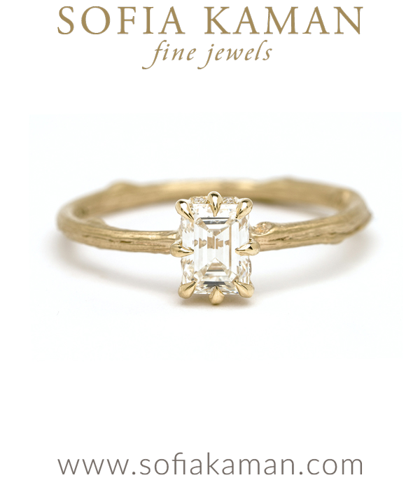 18K Matte Gold Twig Band Emerald Cut Diamond Boho Engagement Ring designed by Sofia Kaman handmade in Los Angeles using our SKFJ ethical jewelry process.