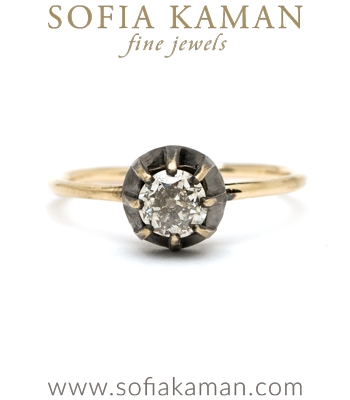 Champagne Diamond Engagement Rings Old European Cut Champagne Diamond Victorian Style Bezel Boho Engagement Ring designed by Sofia Kaman handmade in Los Angeles