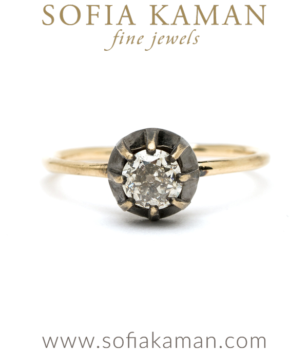 Old European Cut Champagne Diamond Victorian Style Bezel Boho Engagement Ring designed by Sofia Kaman handmade in Los Angeles using our SKFJ ethical jewelry process.