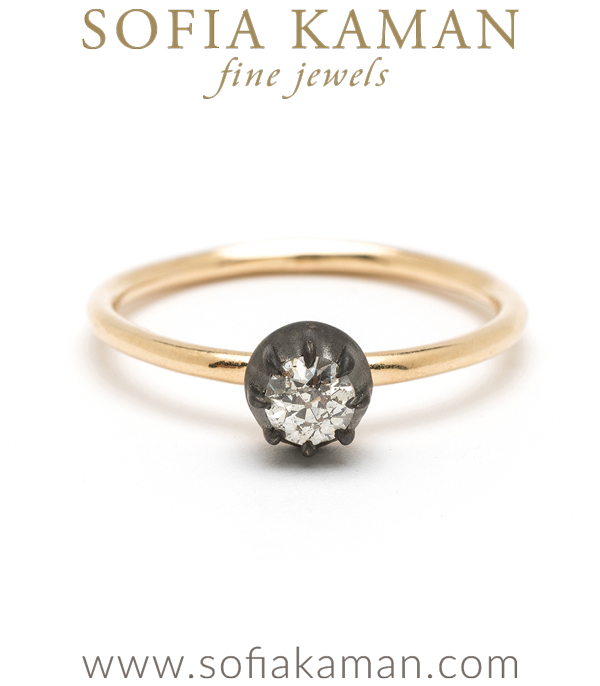 Vintage Victorian Inspired Diamond Solitaire Engagement Ring designed by Sofia Kaman handmade in Los Angeles using our SKFJ ethical jewelry process.