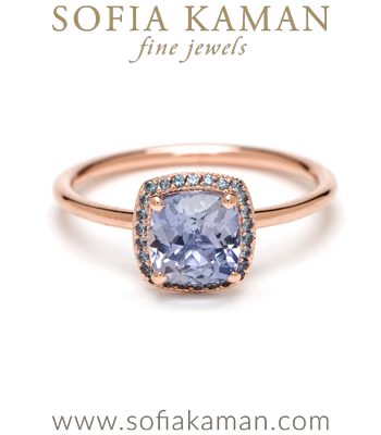 Blue Sapphire Bohemian Engagement Ring designed by Sofia Kaman handmade in Los Angeles