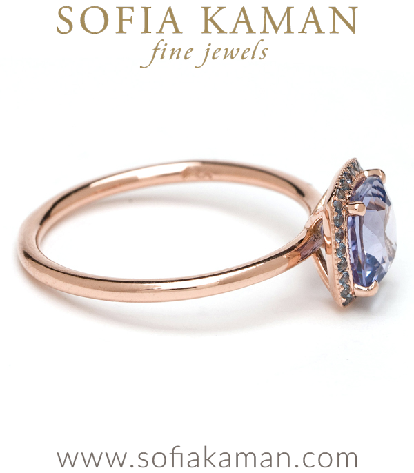 Blue Sapphire Bohemian Engagement Ring made in Los Angeles