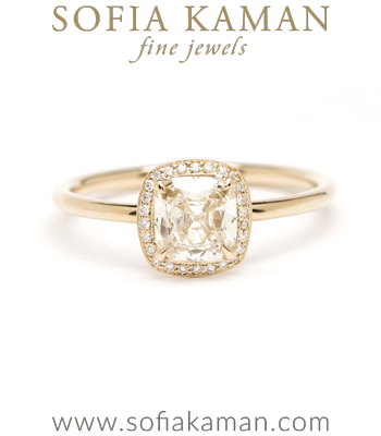 14K Shiny Gold Cushion Cut Diamond Halo One of a Kind Engagement Ring designed by Sofia Kaman handmade in Los Angeles