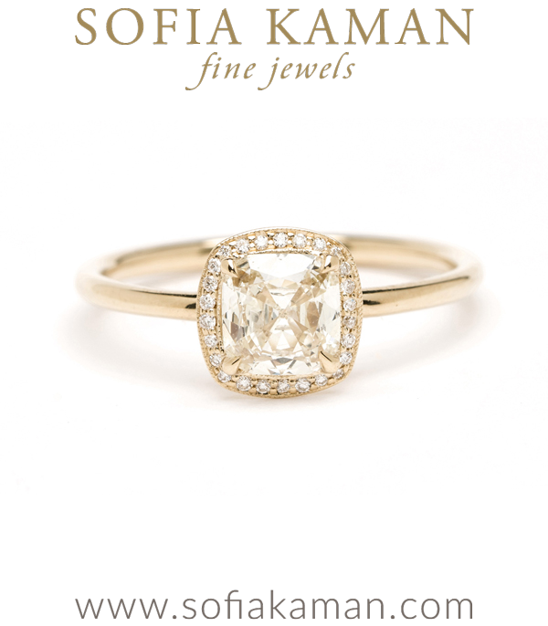 14K Shiny Gold Cushion Cut Diamond Halo One of a Kind Engagement Ring designed by Sofia Kaman handmade in Los Angeles using our SKFJ ethical jewelry process. This piece has been sold and is in the SK Archive.