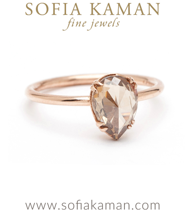 Pear Shape Rose Cut Champagne Diamond Bohemian Engagement Ring designed by Sofia Kaman handmade in Los Angeles using our SKFJ ethical jewelry process. This piece has been sold and is in the SK Archive.