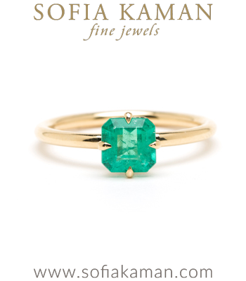 One of a Kind Emerald Solitaire Boho Engagement Ring designed by Sofia Kaman handmade in Los Angeles