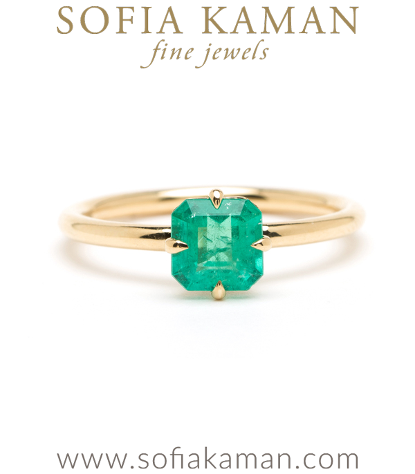 One of a Kind Emerald Solitaire Boho Engagement Ring designed by Sofia Kaman handmade in Los Angeles using our SKFJ ethical jewelry process.