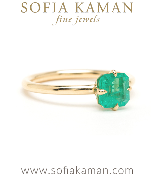 Emerald Solitaire Unique Engagement Ring