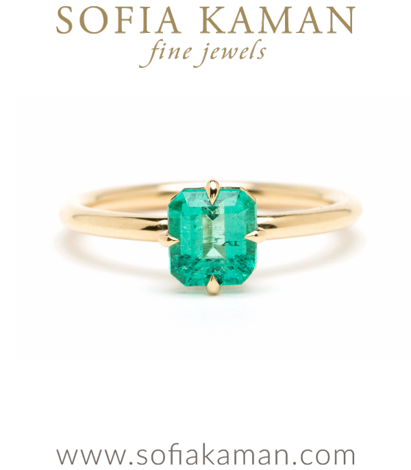 14K Shiny Gold Unique Emerald Solitaire Engagement Ring designed by Sofia Kaman handmade in Los Angeles using our SKFJ ethical jewelry process.