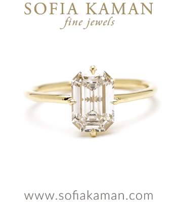 14k Matte Gold Emerald Cut Solitaire Diamond Foundry Lab Created Diamond Engagement Ring designed by Sofia Kaman handmade in Los Angeles
