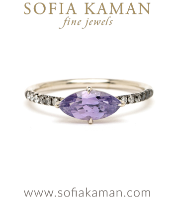 Marquise Purple Sapphire Unique Engagement Rings designed by Sofia Kaman handmade in Los Angeles