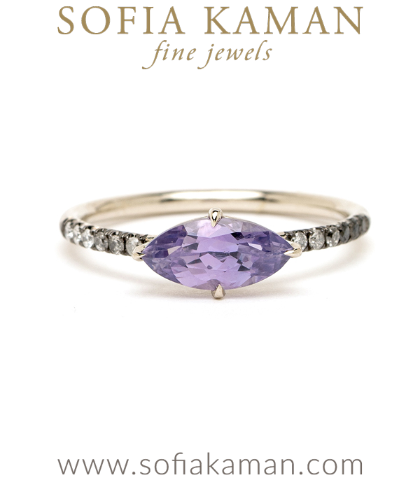 Marquise Purple Sapphire Unique Engagement Rings designed by Sofia Kaman handmade in Los Angeles using our SKFJ ethical jewelry process.