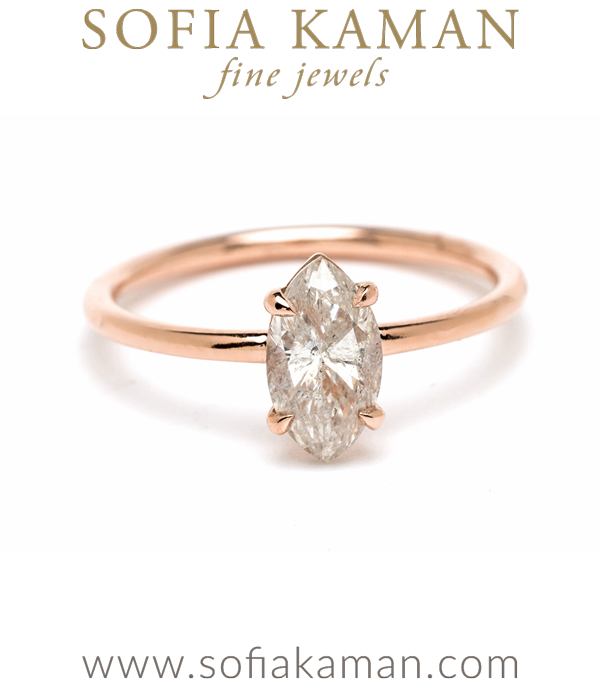 14k Rose Gold Salt and Pepper Marquise Diamond Boho Ethical Engagement Ring designed by Sofia Kaman handmade in Los Angeles using our SKFJ ethical jewelry process.