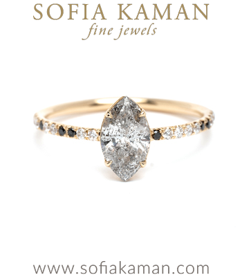 Marquise Shape Salt and Pepper Diamond Solitaire Unique Engagement Ring designed by Sofia Kaman handmade in Los Angeles