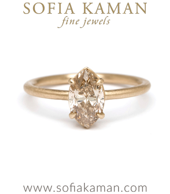 Marquise Cut Champagne Diamond Bohemian Engagement Ring designed by Sofia Kaman handmade in Los Angeles