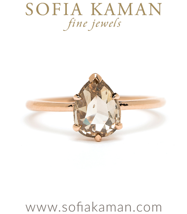 14K Shiny Rose Gold Bohemian One of a Kind Pear Shape Champagne Diamond Engagement Ring designed by Sofia Kaman handmade in Los Angeles using our SKFJ ethical jewelry process. This piece has been sold and is in the SK Archive.