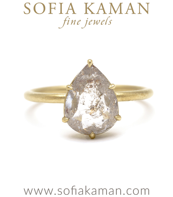 14K Rose Gold One of a Kind Pear Shaped Rose Cut Salt and Pepper Diamond Engagement Ring designed by Sofia Kaman handmade in Los Angeles using our SKFJ ethical jewelry process.