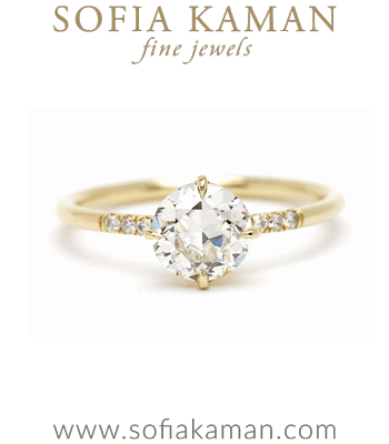 Antique Diamond Solitaire One of a Kind Engagement Ring designed by Sofia Kaman handmade in Los Angeles