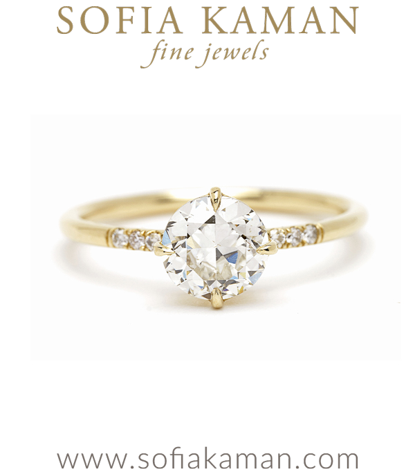 Antique Diamond Solitaire One of a Kind Engagement Ring designed by Sofia Kaman handmade in Los Angeles using our SKFJ ethical jewelry process.