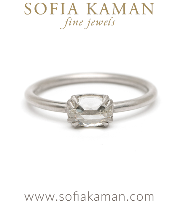 Platinum Oval Rose Cut Diamond Bohemian Engagement Ring designed by Sofia Kaman handmade in Los Angeles