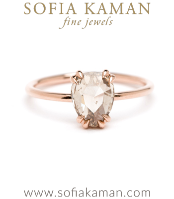 Pear Shape Rose Cut Champagne Diamond Solitaire Handmade Engagement Ring designed by Sofia Kaman handmade in Los Angeles