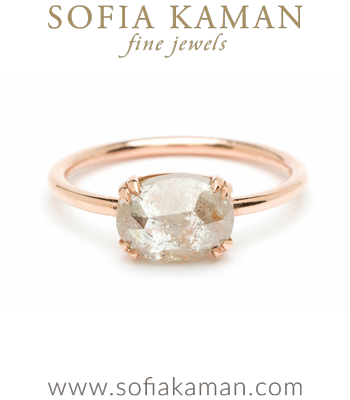 Rose Gold Rose Cut Salt and Pepper Diamond Boho Engagement Ring designed by Sofia Kaman handmade in Los Angeles