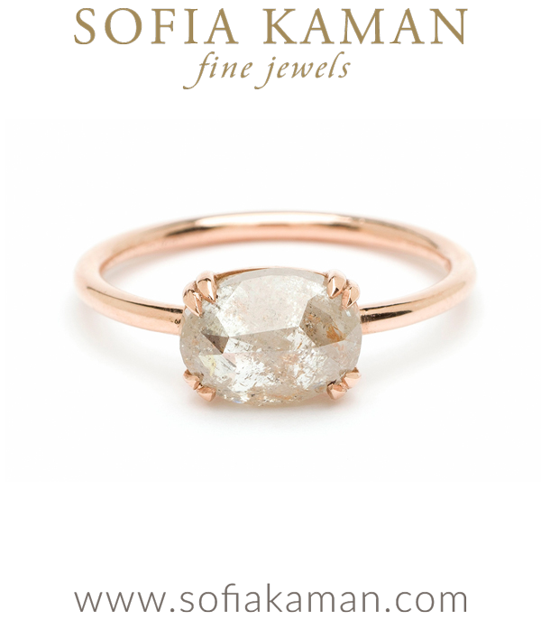Rose Gold Rose Cut Salt and Pepper Diamond Boho Engagement Ring designed by Sofia Kaman handmade in Los Angeles using our SKFJ ethical jewelry process.