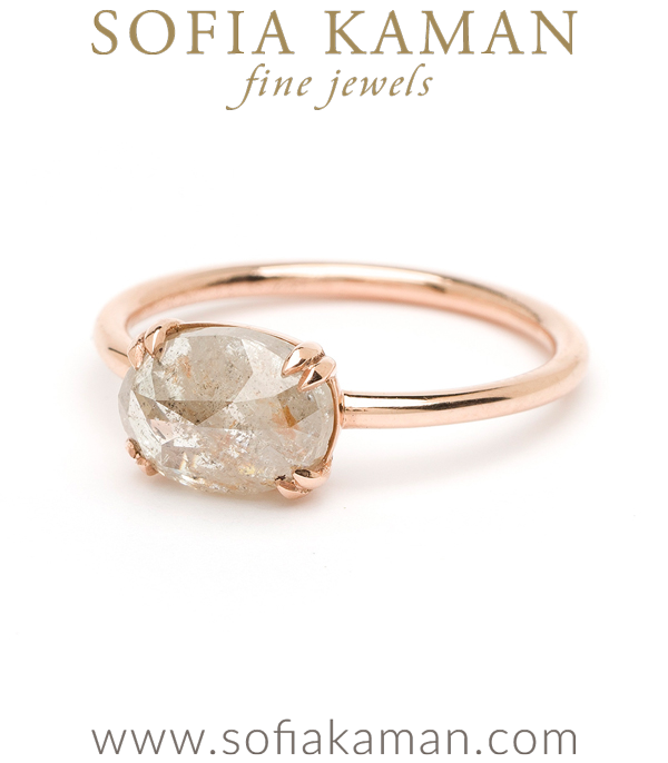 Rose Gold Salt And Pepper Diamond Engagement Ring