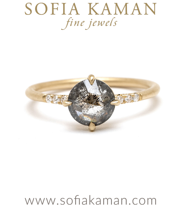 Ethically Sourced Salt and Pepper Rose Cut Diamond One of a Kind Boho Engagement Ring designed by Sofia Kaman handmade in Los Angeles using our SKFJ ethical jewelry process.