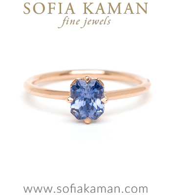 Blue Sapphire Solitaire Bohemian Engagement Ring designed by Sofia Kaman handmade in Los Angeles