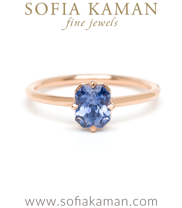 Blue Sapphire Solitaire Bohemian Engagement Ring designed by Sofia Kaman handmade in Los Angeles using our SKFJ ethical jewelry process.