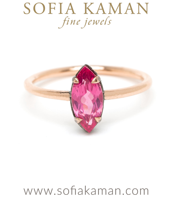 Pink Spinel Marquise Solitaire Bohemian Engagement Ring made in Los Angeles