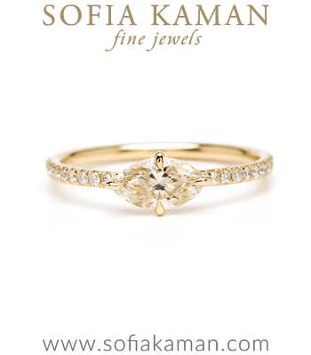 Gold Marquis Cut Champagne Diamond Pave Band Boho Engagement Ring designed by Sofia Kaman handmade in Los Angeles