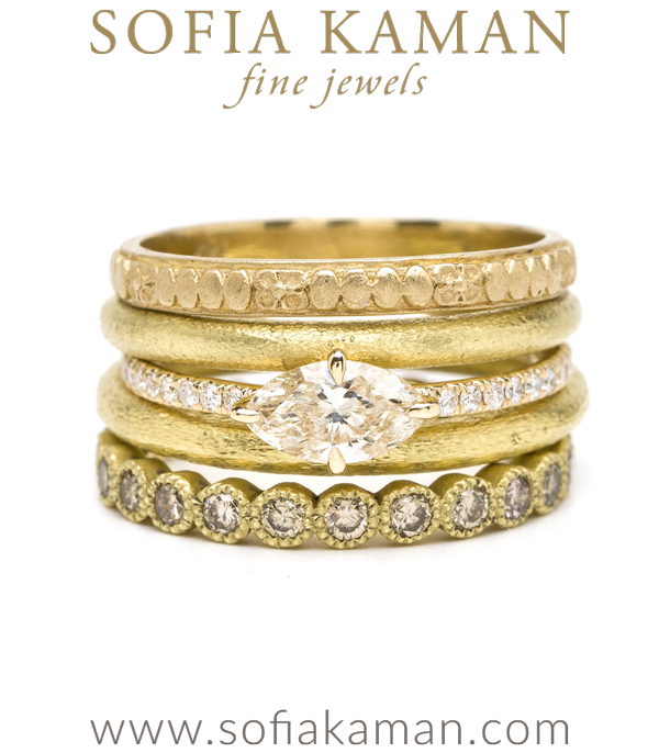 Gold Diamond Stacking Rings