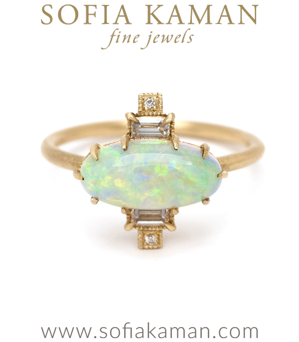Vintage Inspired Art Deco Opal One of a Kind Unique Boho Engagement Ring designed by Sofia Kaman handmade in Los Angeles using our SKFJ ethical jewelry process. This piece has been sold and is in the SK Archive.