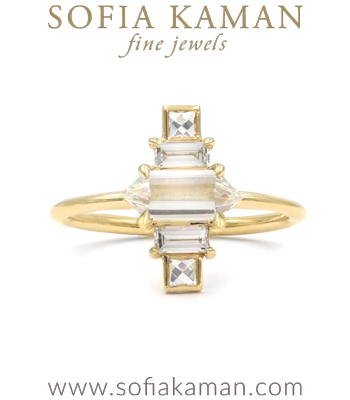 Deco Inspired Hexagon Diamond Bohemian Engagement Ring designed by Sofia Kaman handmade in Los Angeles