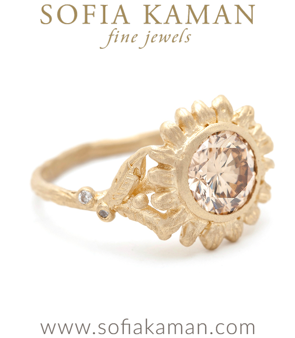 Gold Champagne Diamond Solitaire Sunflower Engagement Ring