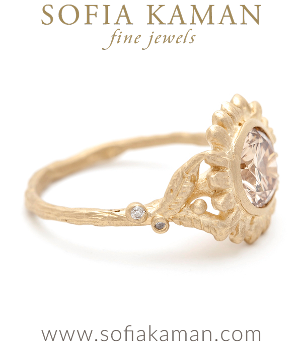 Champagne Diamond Solitaire Natural Organic Twig Sunflower Bohemian Engagement Ring made in Los Angeles