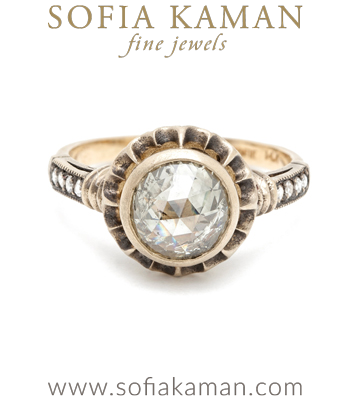 Vintage Inspired Mogul Cut Diamond Solitaire Scalloped Bohemian Engagement Ring made in Los Angeles