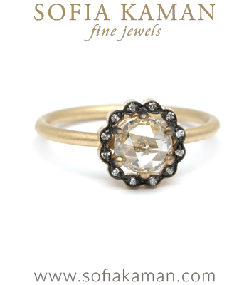 18K Matte Gold Blackened Marquise Diamond Halo Rose Cut Boho Engagement Ring made in Los Angeles