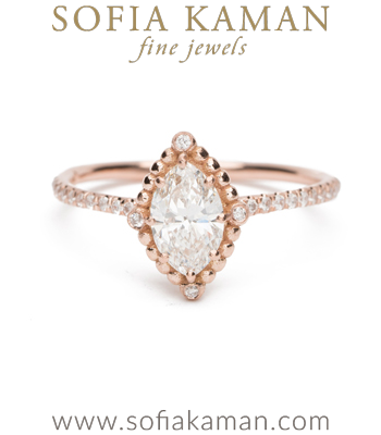 Rose Gold Marquise Diamond Bohemian Engagement Ring made in Los Angeles