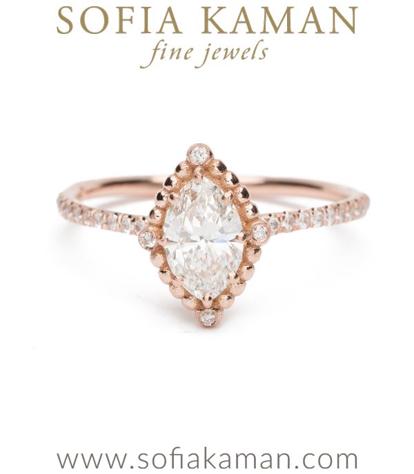 Rose Gold Marquise Diamond Bohemian Engagement Ring designed by Sofia Kaman handmade in Los Angeles using our SKFJ ethical jewelry process. This piece has been sold and is in the SK Archive.