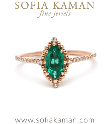Rose Gold Marquise Emerald Bohemian Ethical Engagement Ring designed by Sofia Kaman handmade in Los Angeles