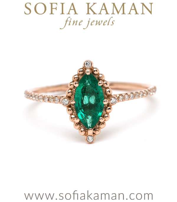 Rose Gold Marquise Emerald Bohemian Ethical Engagement Ring designed by Sofia Kaman handmade in Los Angeles using our SKFJ ethical jewelry process.