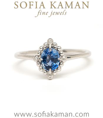 14K White Gold Blue Sapphire One of a Kind Diamond Alternative Engagement Ring designed by Sofia Kaman handmade in Los Angeles