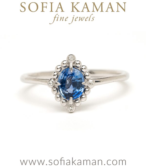 14K White Gold Blue Sapphire One of a Kind Diamond Alternative Engagement Ring designed by Sofia Kaman handmade in Los Angeles using our SKFJ ethical jewelry process.