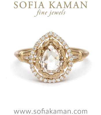 18kt Yellow Gold Diamond Halo Pear Shape Rose Cut Champagne Diamond Engagement Ring made in Los Angeles