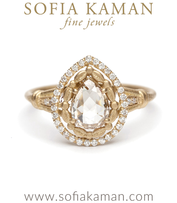 18k Yellow Gold Diamond Halo Pear Shape Rose Cut Champagne Diamond One of a Kind Engagement Ring designed by Sofia Kaman handmade in Los Angeles using our SKFJ ethical jewelry process.