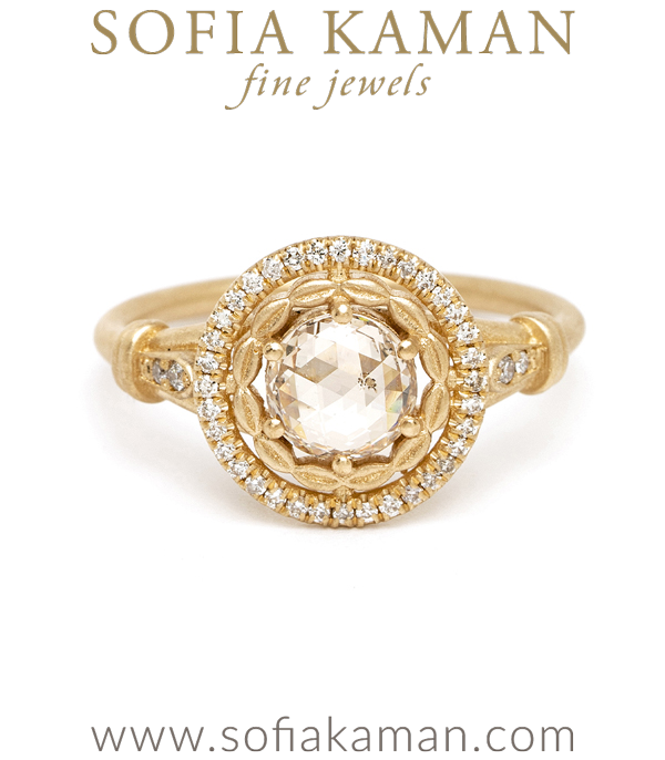 Matte Gold One of a Kind Round Champagne Rose Cut Diamond Engagement Ring designed by Sofia Kaman handmade in Los Angeles using our SKFJ ethical jewelry process.